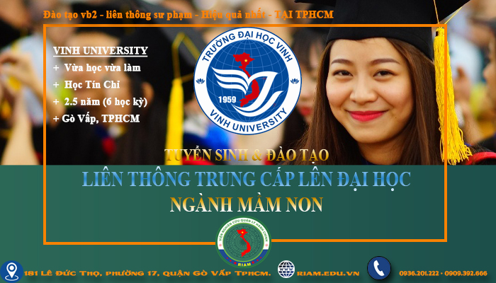Liên thông trung cấp lên đại học mầm non hệ VHVL ở TPHCM, 2021